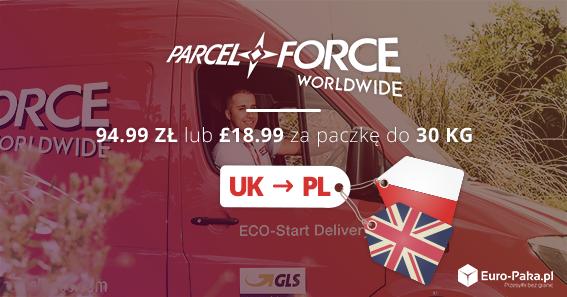 Paczki z Anglii do Polski - Parcel Force za jedynie 94.99zł lub £18.99 za paczkę do 30kg